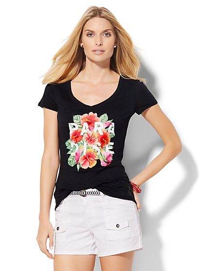 V-Neck Tee - Paradise Graphic  - New York & Company
