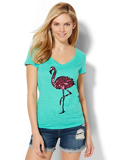 V-Neck Tee - Sequin Flamingo  - New York & Company