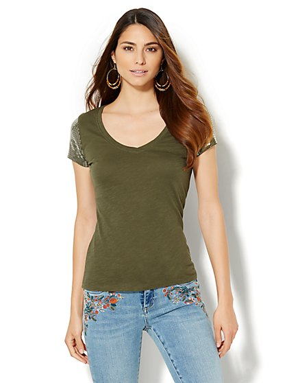 V-Neck Tee - Sequin Sleeve  - New York & Company