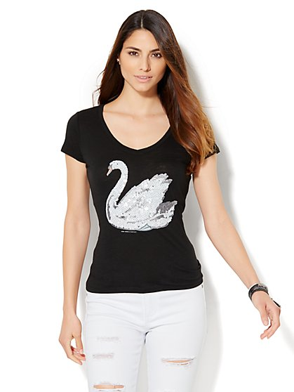 V-Neck Tee - Sequin Swan   - New York & Company
