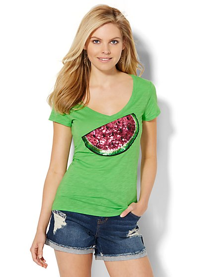 V-Neck Tee - Sequin Watermelon  - New York & Company