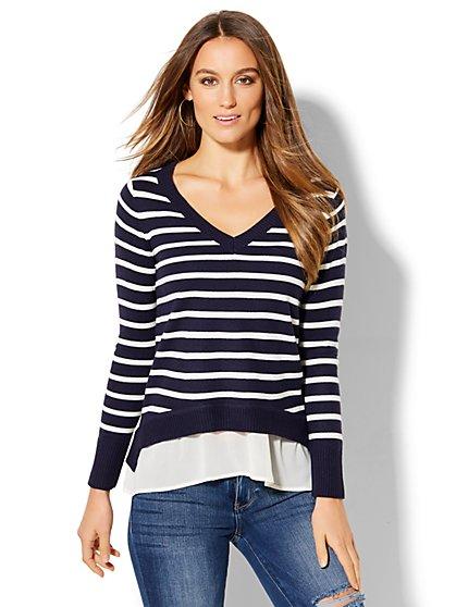 V-Neck Twofer Sweater - Stripe  - New York & Company