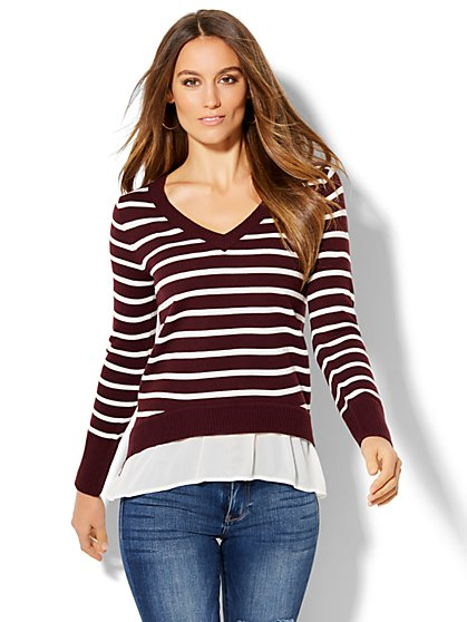 V-Neck Twofer Sweater - Stripe  - New York & Company