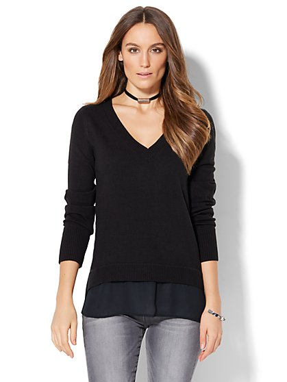 V-Neck Twofer Sweater  - New York & Company