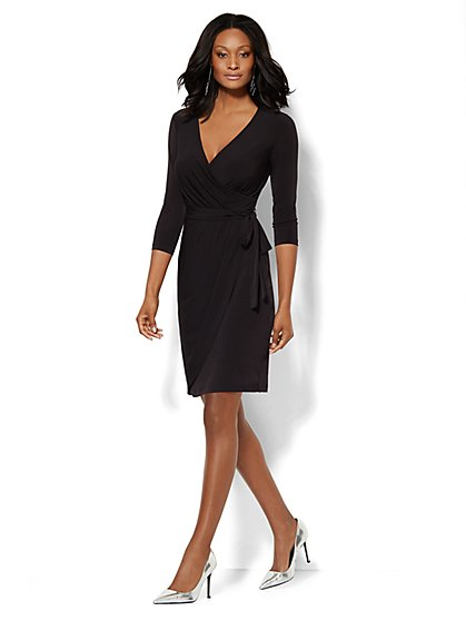 V-Neck Wrap Dress - Solid - Petite  - New York & Company