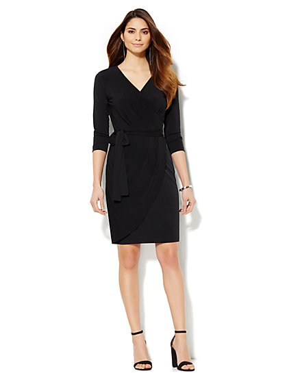 V-Neck Wrap Dress - Solid - New York & Company