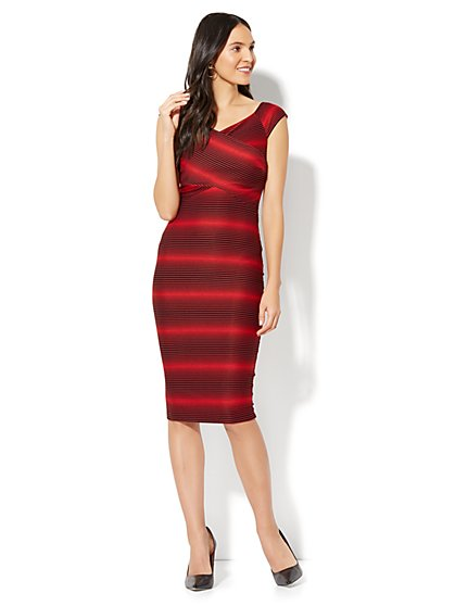 V-Neck Wrap Dress - Stripe - New York & Company