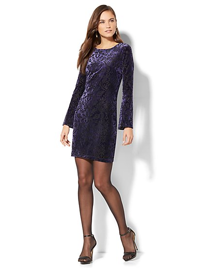 Velvet Burnout Jacquard Dress - New York & Company