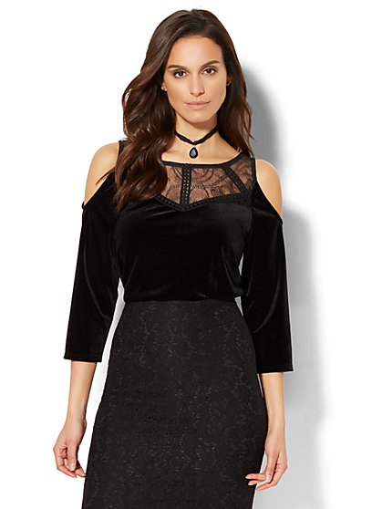 Velvet Cold-Shoulder Top - New York & Company