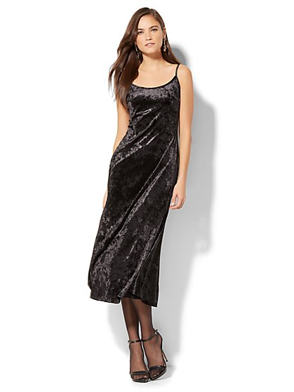 Velvet Midi Slip Dress - New York & Company