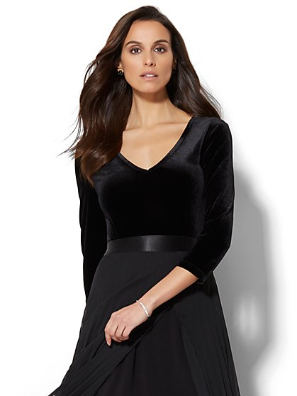 Velvet V-Neck Bodysuit - New York & Company