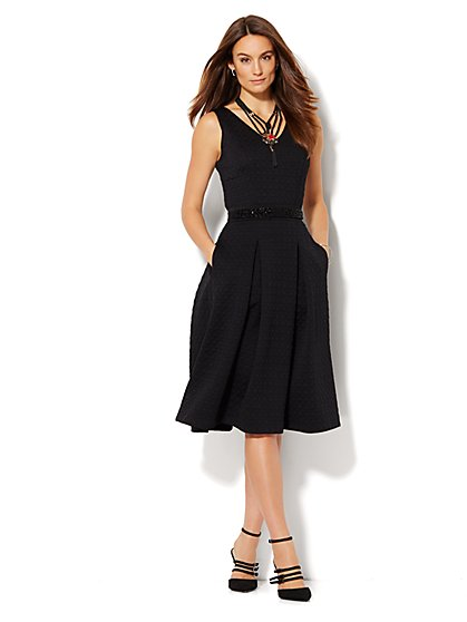 Waffle Scuba Midi Flare Dress  - New York & Company