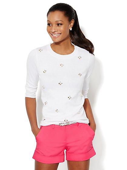 Waverly Beaded Cluster Crewneck Sweater - New York & Company