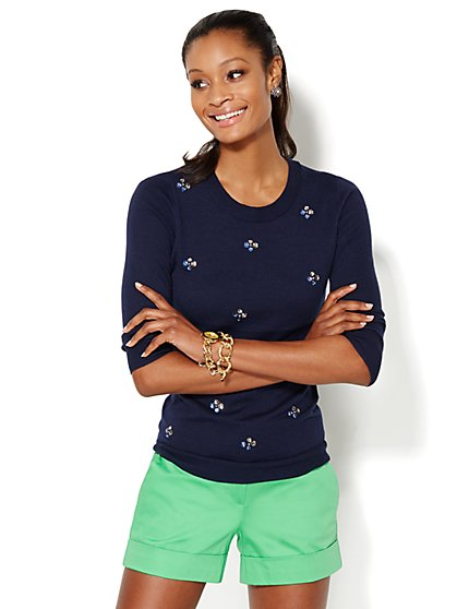 Waverly Beaded Cluster Crewneck Sweater - New York & Company