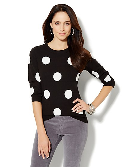 Waverly Crewneck Glimmer-Dot Sweater  - New York & Company