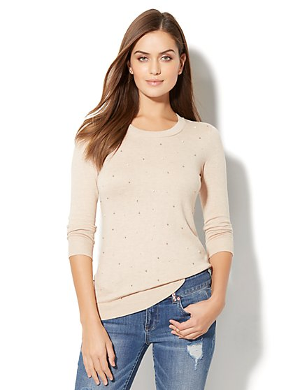 Waverly Crewneck Sweater - Embellished - New York & Company