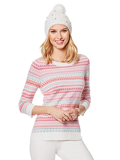 Waverly Crewneck Sweater - Fair Isle - New York & Company