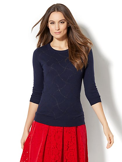Waverly Crewneck Sweater - Lurex - New York & Company