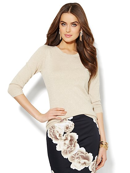 Waverly Crewneck Sweater - Metallic - New York & Company
