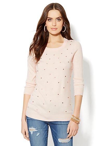 Waverly Crewneck Sweater - Rhinestone Accent - New York & Company