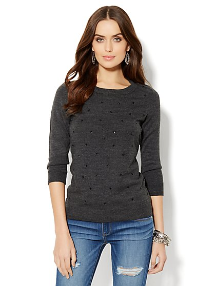 Waverly Crewneck Sweater - Rhinestone Accent - New York & Company