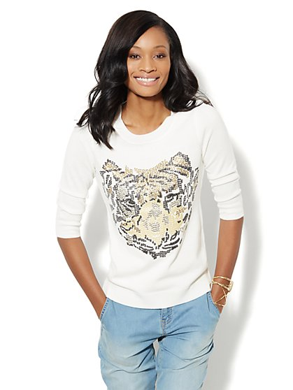 Waverly Crewneck Sweater - Sequin Tiger - New York & Company