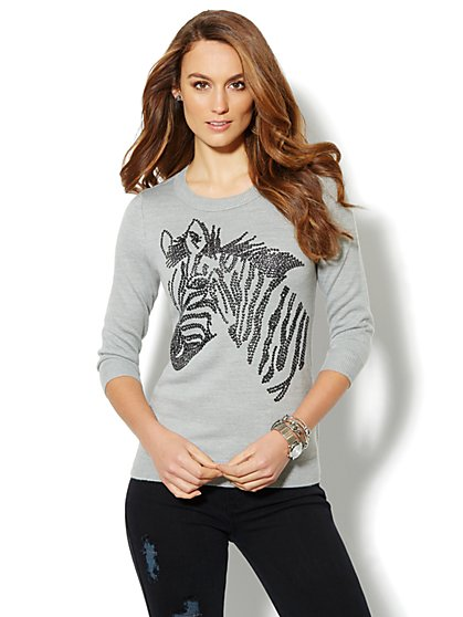 Waverly Crewneck Sweater - Sequin Zebra - New York & Company