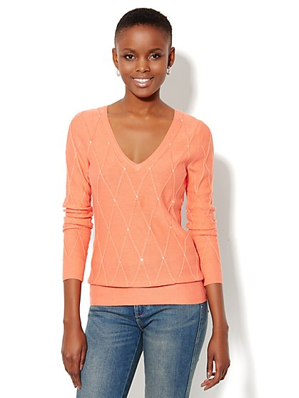 Waverly Diamond-Knit V-Neck Sweater  - New York & Company
