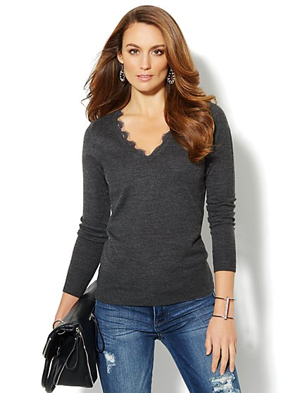 Waverly Lace-Trimmed V-Neck Sweater  - New York & Company
