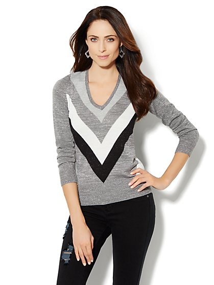 Waverly Lurex Chevron Sweater  - New York & Company