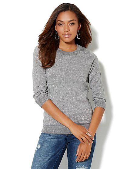Waverly Lurex Crewneck Sweater  - New York & Company