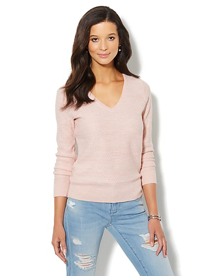 Waverly Mixed-Stitch Sweater - Lurex - New York & Company