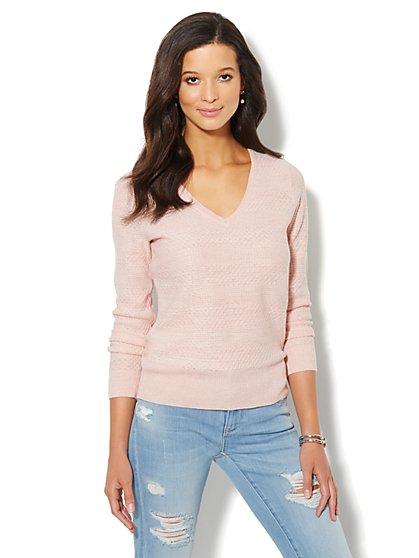 Waverly Mixed-Stitch Sweater - Lurex - New York & Company