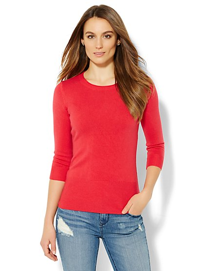 Waverly Rolled Crewneck Sweater  - New York & Company