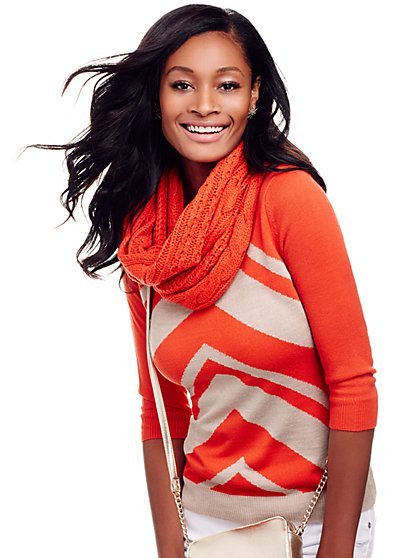 Waverly Scoopneck Sweater - Orange Burst - New York & Company