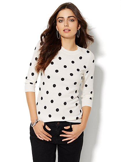 Waverly Scoopneck Sweater - Shimmer Polka Dot - New York & Company