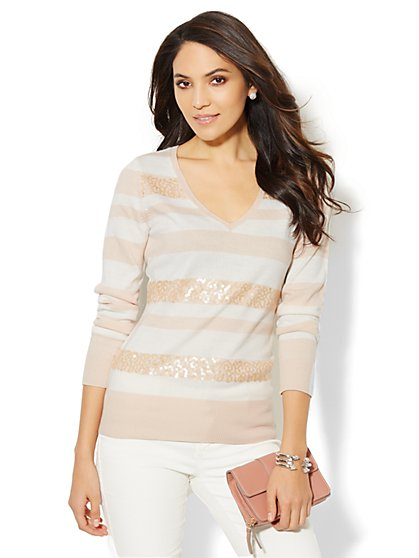 Waverly Sequin Stripe V-Neck Sweater  - New York & Company