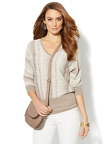 Waverly V-Neck Dolman Sweater - Lurex Ombre - New York & Company
