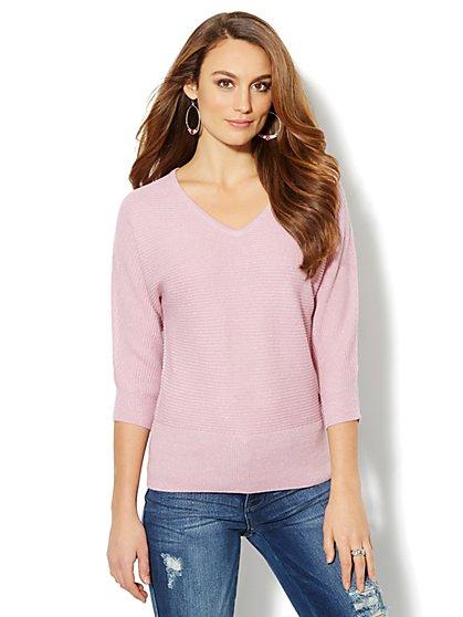 Waverly V-Neck Dolman Sweater - Lurex - New York & Company