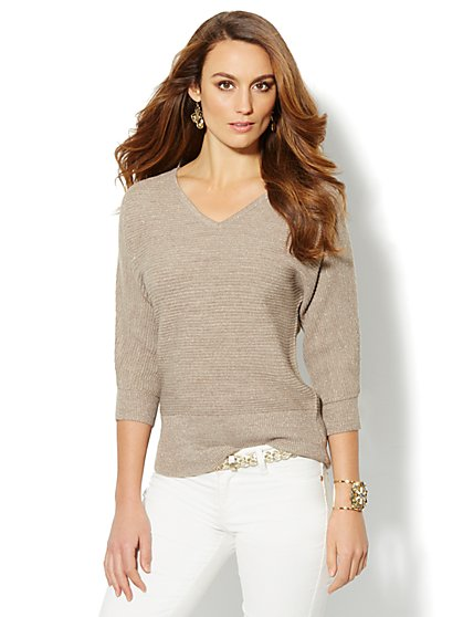 Waverly V-Neck Dolman Sweater - Lurex - New York & Company