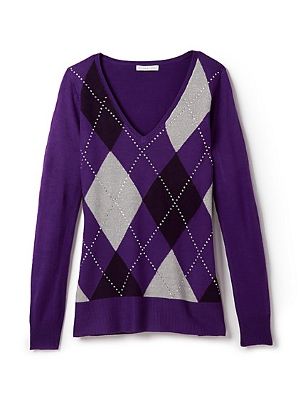 Waverly V-Neck Sweater - Argyle & Rhinestone - New York & Company