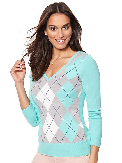 Waverly V-Neck Sweater - Argyle - New York & Company