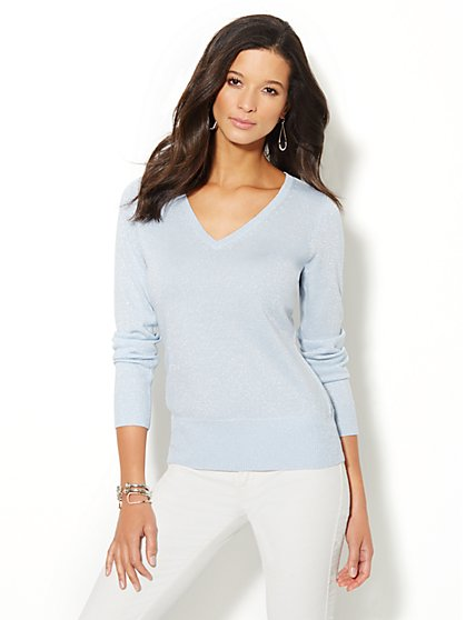 Waverly V-Neck Sweater - Lurex  - New York & Company