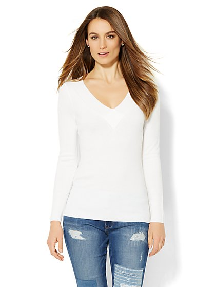 Waverly V-Neck Sweater - Ribbed Trim  - New York & Company