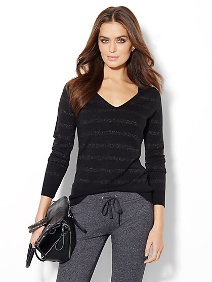 Waverly V-Neck Sweater - Shimmer Striped - New York & Company