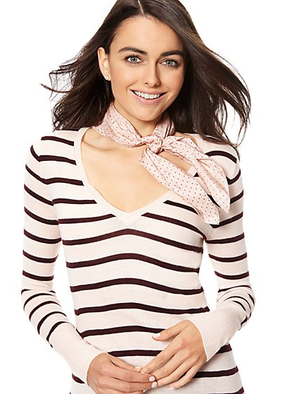 Waverly V-Neck Sweater - Stripe - New York & Company