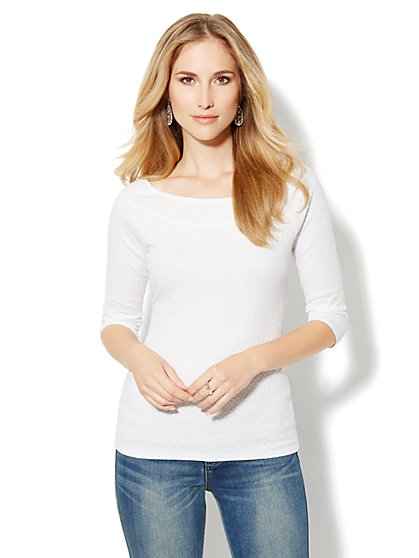 Wavy-Knit Boatneck Top - New York & Company