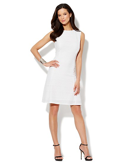 Wavy-Knit Scoopneck Flare Dress