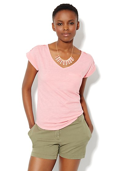 Welt-Pocket Cotton Tee Shirt