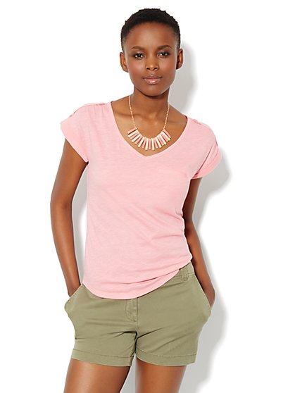 Welt-Pocket Cotton Tee Shirt - New York & Company